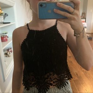 Black Embroidered tank top
